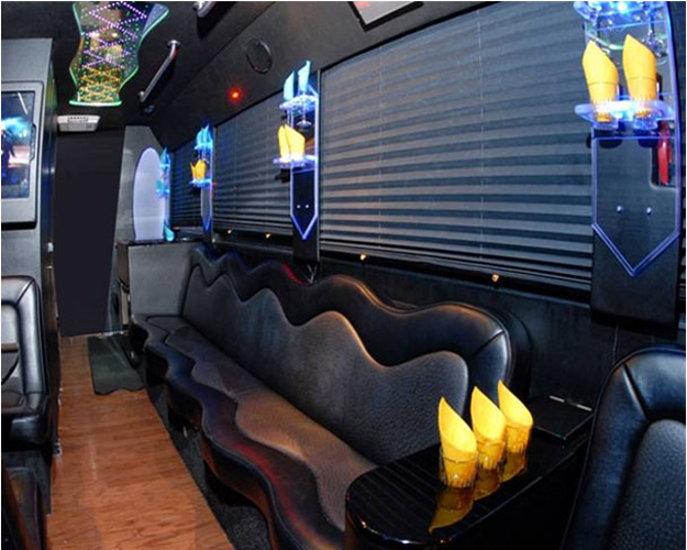 CUSTOM DESIGNED PARTY BUS Description Ostrich Leather Seating Marble Topped Bar With Room For 2 Attendants To Stand Behind Booth 4 Table Pole